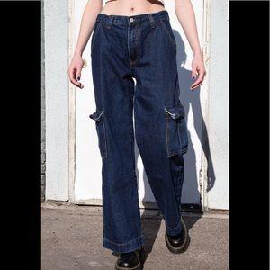 Brandy Melville dark wash Tatum cargo jeans